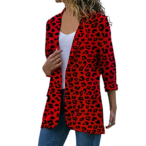 (Women Women Long Sleeve Cardigans Leopard Coat Open Front Jackets Outwear Overcoat (M, Red))