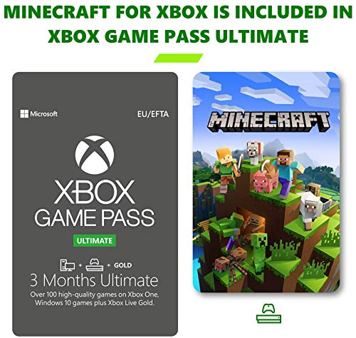 Xbox Game Pass Ultimate 3 Month Membership | Xbox One/Windows 10 PC – Download Code | Subscription Includes Minecraft…