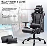 Homall Gaming Office Chair Computer Chair High Back Racing Desk Chair PU Leather Adjustable Seat Height Swivel Chair Ergonomic Executive Chair with Headrest for Adults