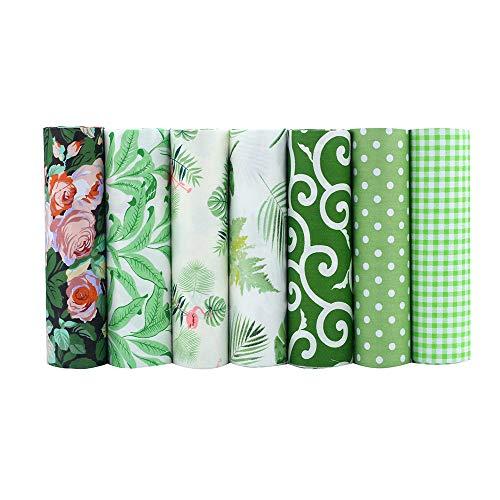 ShuanShuo Green Series Cotton Fabric Quilting Patchwork Fabric Fat Quarter Bundles Fabric for Sewing DIY Crafts Handmade Bags 40X50cm 7pcs/lot