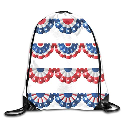 Drawstring Backpacks Bags,Flag Round Bunting Election Ornament Politic Union Ribbon Event Pattern,5 Liter -