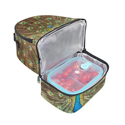 pavo de para con almuerzo plumas picnic Bolso doble de ajustable correa real para hombro el Y8x5tnzUw