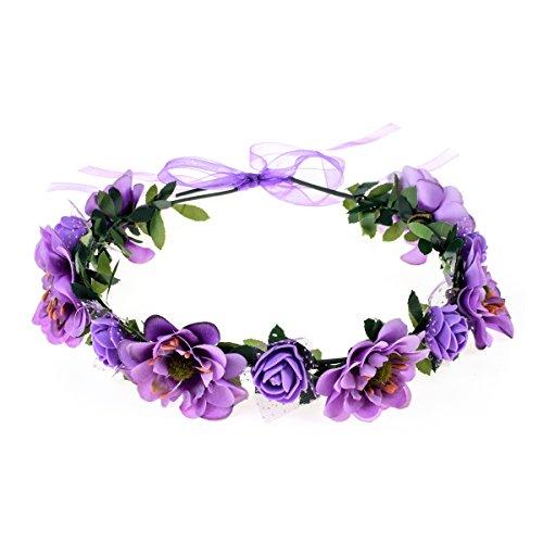 - June Bloomy Rose Flower Leave Crown Bridal Halo Headband with Adjustable Ribbon (Purple)