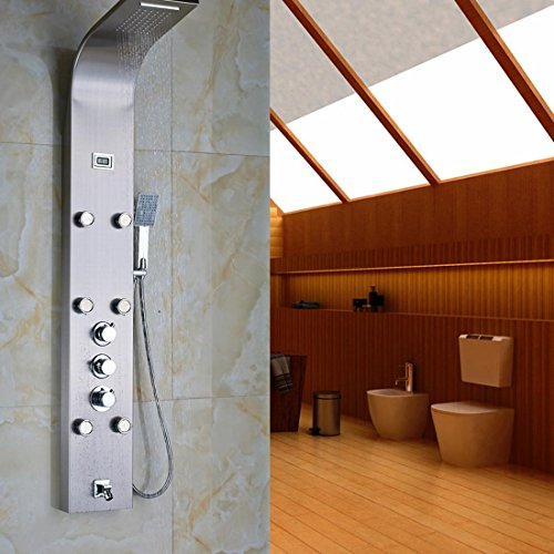 HYY@ Brushed Nickel Thermostatic Mixer Shower Column Body Massage Sprayer with Temperature Display Bathroom Shower Panel 70%OFF