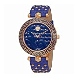 quilted dial watch - Versace Women's VK7040013 Vanitas Rose Gold Ion-Plated Stainless Steel Blue Genuine Leather Interchangeable Straps Watch Set