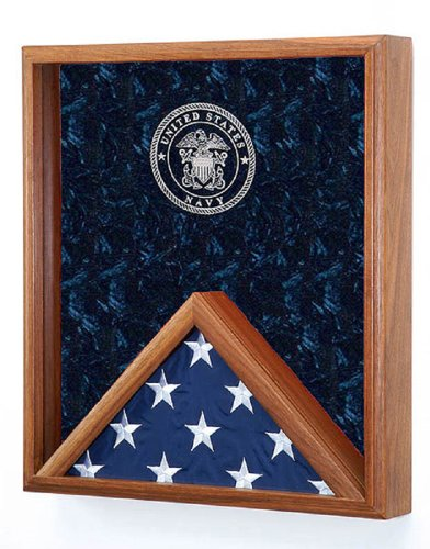 All-American-Gifts-Military-Flag-Medal-Display-Case-for-3×5-Flag-Shadow-Box-wLaser-Engraved-Emblem-Navy-engraved-Emblem-more-service-emblems-available