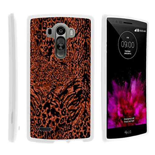 TurtleArmor | LG G4 Case | H815 | F500L | H810 | VS986 | LS991 [Slim Duo] Slim Ultra Fitted Hard Cover Rubberized Coating Camouflage Case Design on White - Red Animal Skin
