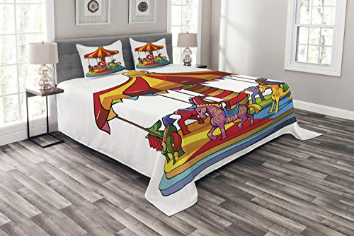 - Lunarable Nursery Bedspread Set Queen Size, Cartoon Carousel Horses Merry Go Round Amusement Park Roundabout Playground Print, Decorative Quilted 3 Piece Coverlet Set with 2 Pillow Shams, Multicolor
