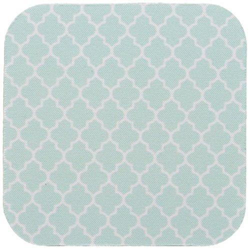 3dRose CST_120256_1 Mint Quatrefoil Pattern Light Teal Turquoise Moroccan Tiles Pastel Aqua Blue Clover Lattice Soft Coasters, Set of 4