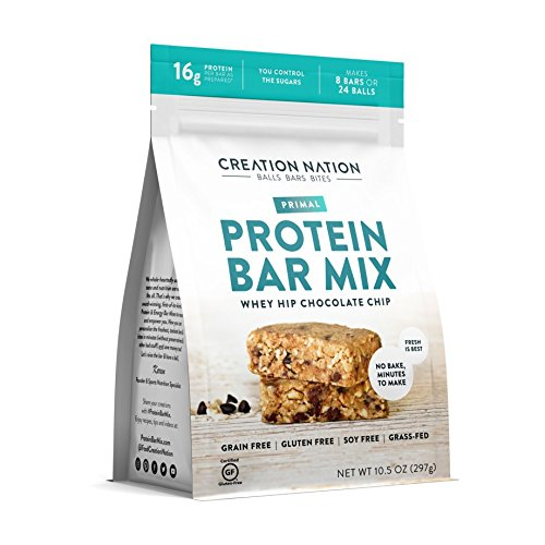 Creation Nation - PROTEIN BAR MIX - No Bake & Easy as a Protein Shake! - Makes 8 Bars - Whey Hip Chocolate Chip - 14-16g Protein/Bar - Primal, Grain Free, Gluten Free