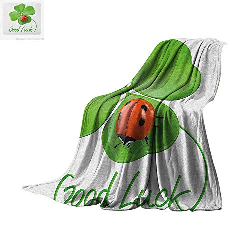 (Going Away Party Super Soft Lightweight Blanket Lucky Symbols Four Leaf Clover with Ladybug Irish Charm Good Luck Custom Design Cozy Flannel Blanket 90