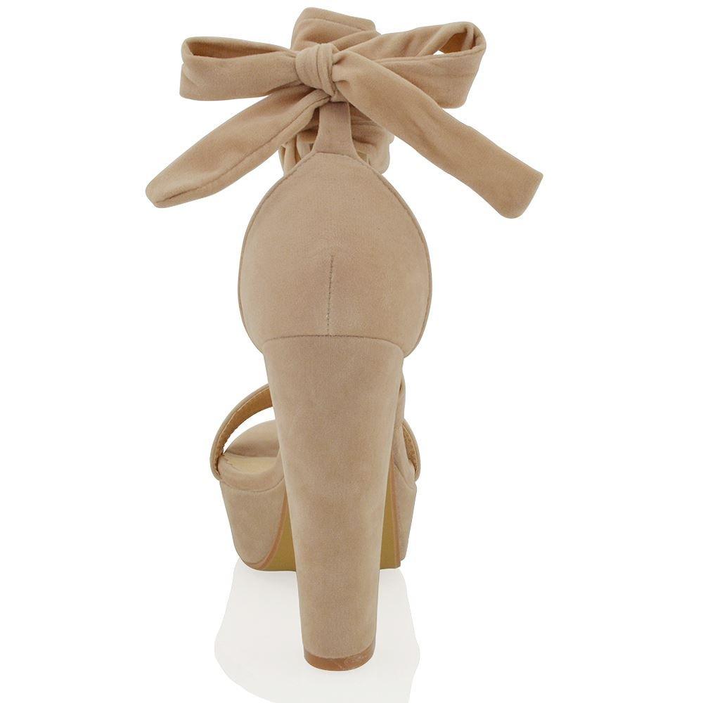 Essex Glam Sandalo Donna Finto Scamosciato con con con Allacciatura Tacco Alto a Blocco 03a9db