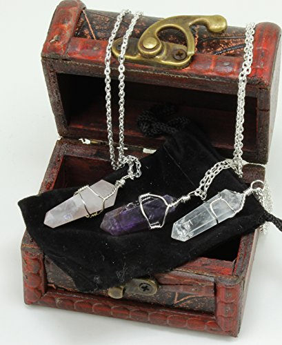 Three Wire Wrapped Crystal Point Pendant Necklaces, Amethyst, Rose Quartz, and Clear Quartz, all in a Velvet Pouch, packaged in Treasure Chest Pirate Box, Valentine's Day gift, Dancing Bear Brand. (Clear Necklace Crystal)