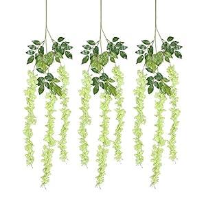 KayMayn 12pcs/lot Artificial Wisteria silk flower/Bouquet,Wedding Hanging Flowers,Hanging Garland Silk Flowers for Party Home Wedding Decor/holiday decoration weddings & Garden 95