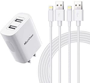 iPhone Charger Cable - MFi Certified - Marchpower 12W USB A Power Adapter Wall Plug 2 Pack 6ft iPad Lightning Cable Charge Sync Cord Compatible with iPhone SE 11 Pro MAX X XS 8 7 iPod AirPods Pro