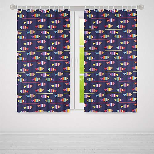 TecBillion Door Curtain,Fish for Living Room,Rainbow Patterned Aquatic Creatures Silhouettes and Stripes Marine Fauna Aquarium,86Wx70L Inches ()