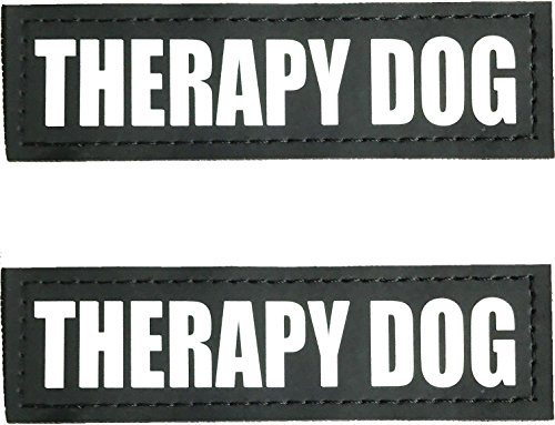 ALBCORP Reflective Therapy Dog Patches with Hook Backing for Service Animal Vests/Harnesses Large (6 X 2) Inch (Patch Therapy)