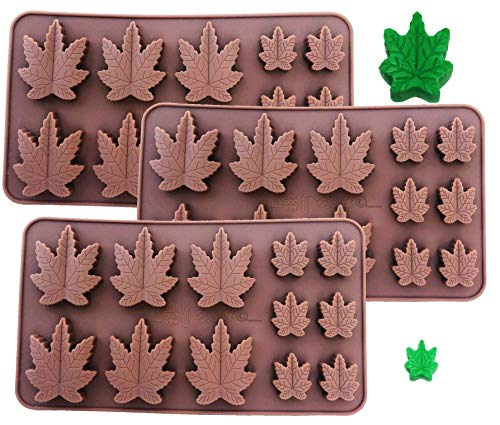 (SET OF 3 X Silicone Lollipop Gummy Brownies Hard Candy Cannabis Weed Edible leaf Mold Ice Cube Marijuana Chocolate Soap Candle Tray Party maker (3x Marijuana)