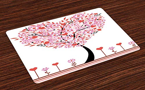 Ambesonne Valentine Place Mats Set of 4, Heart Shaped Tree Daisies Wildflowers Red Leaves Forest Romance Season Image, Washable Fabric Placemats for Dining Table, Standard Size, Pink Red (Valentines Placemats)