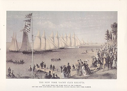"1974 Vintage Currier & Ives YACHTING ""N.Y. YACHT CLUB REGATTA"" COLOR Lithograph"
