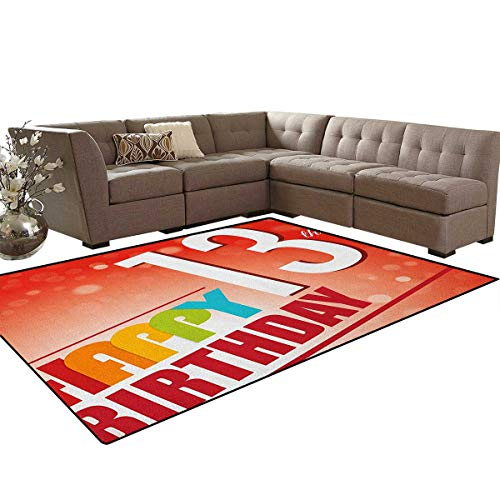 tro Style Teenage Party Invitation Graphic Design with Bokeh Effect Rays,Dining Room Home Bedroom Carpet Floor Mat,Multicolor Size:6'x7' ()