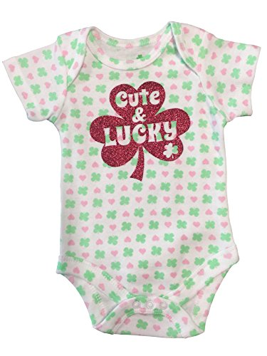 Cute & Lucky St. Patricks Day Baby Bodysuit (0-3 Months) (St Patricks Outfit)