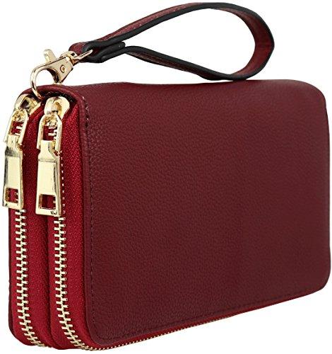B BRENTANO Vegan Double-Zipper Wallet Clutch with Removable Wrist Strap (Magenta) ()