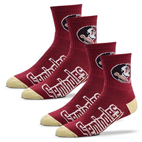 (For Bare Feet Men's Quarter Socks-Florida State Seminoles-Large-Garnet-2 Pack)