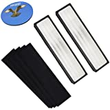 HQRP Air Purifier Filter Kit for InvisiClean IC-7028 4 in 1 Full Size Tower Air Purifier, 2pcs Cartridge Filters & 4-pack Carbon Activated Pre-Filters + HQRP Coaster