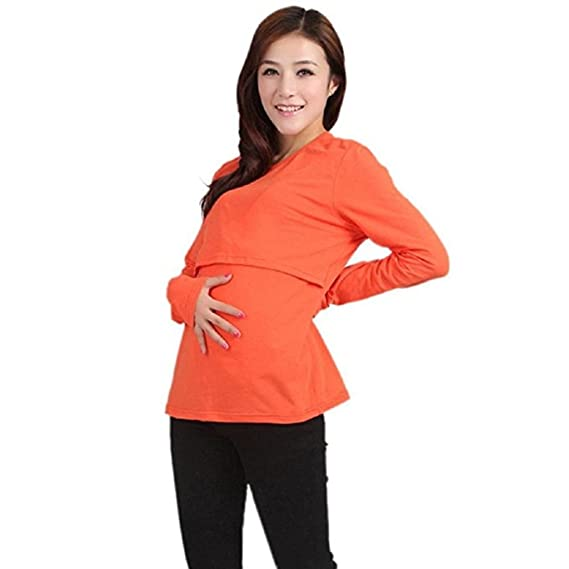 8302e64f21cec Amazon.com: AIMTOPPY Pregnant Maternity Clothes Nursing Tops Breastfeeding  Vest T-Shirt (Orange Yellow): Home & Kitchen