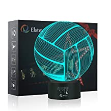 Volleyball 3D Lamp Optical Illusion Night Light, Elstey 7 Color Changing Touch Switch Acrylic Flat & ABS Base & USB Cable Decoration Lamps for Christmas Gift