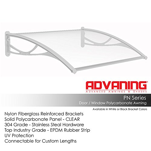 """Advaning DA4731-PWS1N PN Series Top Quality Polycarbonate Door Awning, 47""""W x 31""""D, Clear/White Brackets"""