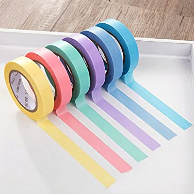 Masking Tape,Craft Multi Colored Masking Tape [6 Rolls Variety Set- Assorted Color Coded Rolls]- Fun DIY Arts Supplies Kit M-jump 33FT Washi Tapes for Arts and Crafts, Scrapbook Masking Paper