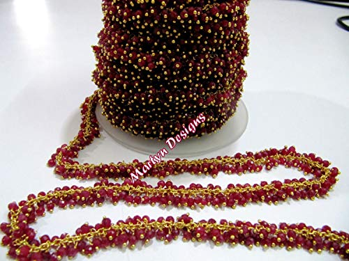 1 Feet A Quality Ruby Beaded Chain Rondelle Faceted Ruby Corundum Beads 3mm Wire Wrapped Dangling Chain Gold Plated Rosary Chain by LadoNarayani