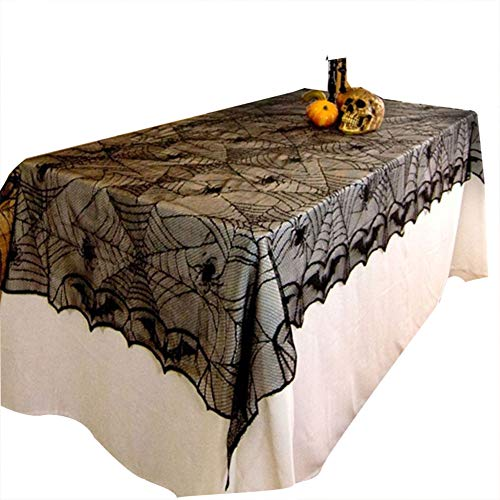 (Sunnymal 1PCS Halloween Rectangle Black Lace Spider Bat Table Cloth Halloween Decoration Horrifying Spider Web Party)