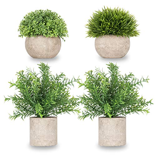 (Meiliy Realistic Fakes Plants Rosemary Plant Mini Potted Artificial Plants in Gray Pot for Bathroom Home House Decor(Set of 4))