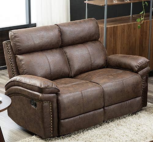 FLIEKS Loveseat Leather Modern Sofa Reclining Sofa Couch Recliner Chair Leather Chair Sofa Sets for Living Room Brown