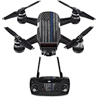 Skin for DJI Spark Mini Drone Combo - Thin Blue Line| MightySkins Protective, Durable, and Unique Vinyl Decal wrap cover | Easy To Apply, Remove, and Change Styles | Made in the USA