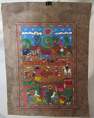 Painting Mexican Bark (HANDMADE AMATE BARK PAPER PAINTING MEXICAN VILLAGE BULL FIGHT SCENE FROM MEXICO BEAUTIFUL BRIGHT COLORS (Red Toro))