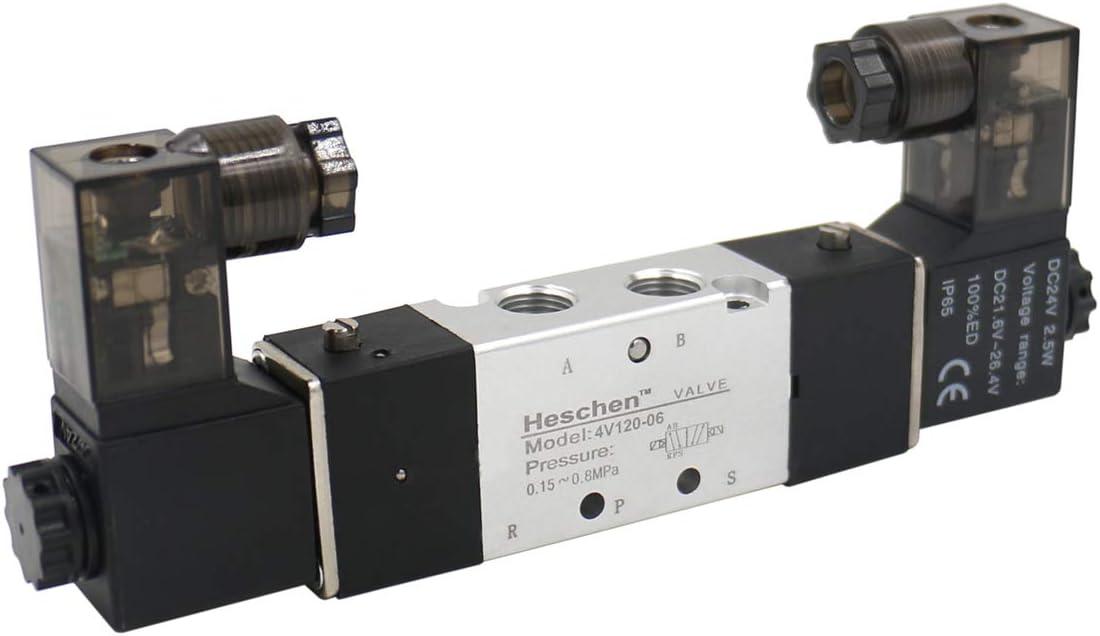 Heschen Electroválvula neumática eléctrica 4V120-06 24VDC 2.5W PT1/8 5 posiciones 2 posiciones CE