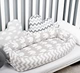 Baby nest with removable cover, elephants toddler size nest bed portable crib lounger baby bassinet co sleeper babynest grand bed travel pad pod for newborn co sleeping