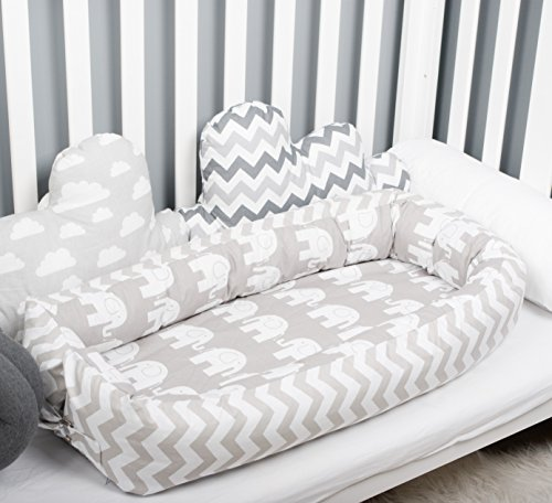 Baby nest with removable cover, elephants toddler size nest bed portable crib lounger baby bassinet co sleeper babynest grand bed travel pad pod for newborn co sleeping by Babynest