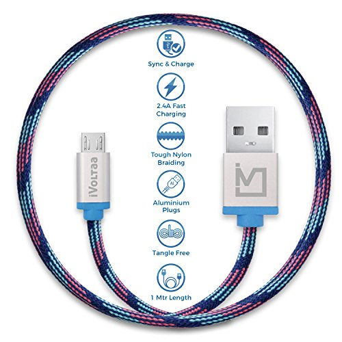 iVoltaa Pixie Micro USB to USB Premium Nylon Braided (1 Meter/ 3.3 Feet) Cable – With Quick Char