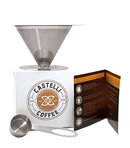 Castelli Coffee Paperless Pour Over Coffee Dripper   Stainless Steel Reusable Coffee Filter   Hand Drip Coffee Maker with Cup Stand
