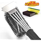 "iiWey Grill Brush and Scraper, Large Surface 4 in 1 Best BBQ Brush for Grills, Long Safe 18"" Stiff Handle and Stainless Steel Woven Wire Bristles Cleaning Brush for Weber Gas/Charcoal Grill"