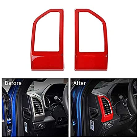 Highitem Red Full Set Interior Decoration Trim Kit Interior Accessories for Ford F150 2015-2017 (Car Steering Wheel Cover)