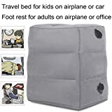 KAILEFU Travel Foot Rest Pillow, Inflatable Adjustable Height Footrest Cushion for Foot Rest on Airplanes, Car, Train, Office, Airplane Bed for Kids/Toddler to Lay Down or Sleep on Long Flights (Grey)