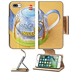 MSD Premium Apple iPhone 7 Plus Flip Pu Leather Wallet Case kettle with art paint on the wood table IMAGE 31768238