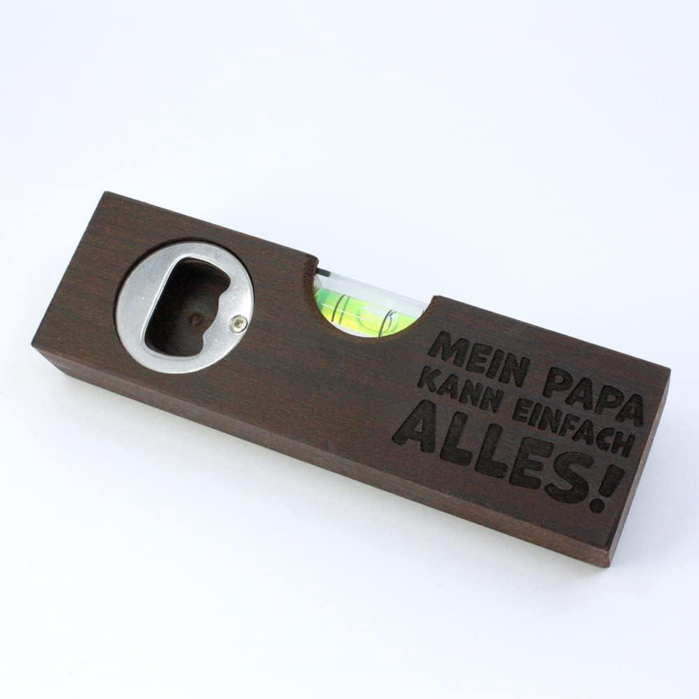 Diamandi Nivel de burbuja con grabado, incluye abridor de botellas, con texto, para papá, regalo para padres, madera, 15 x 4 x 2 cm, papá puede todo