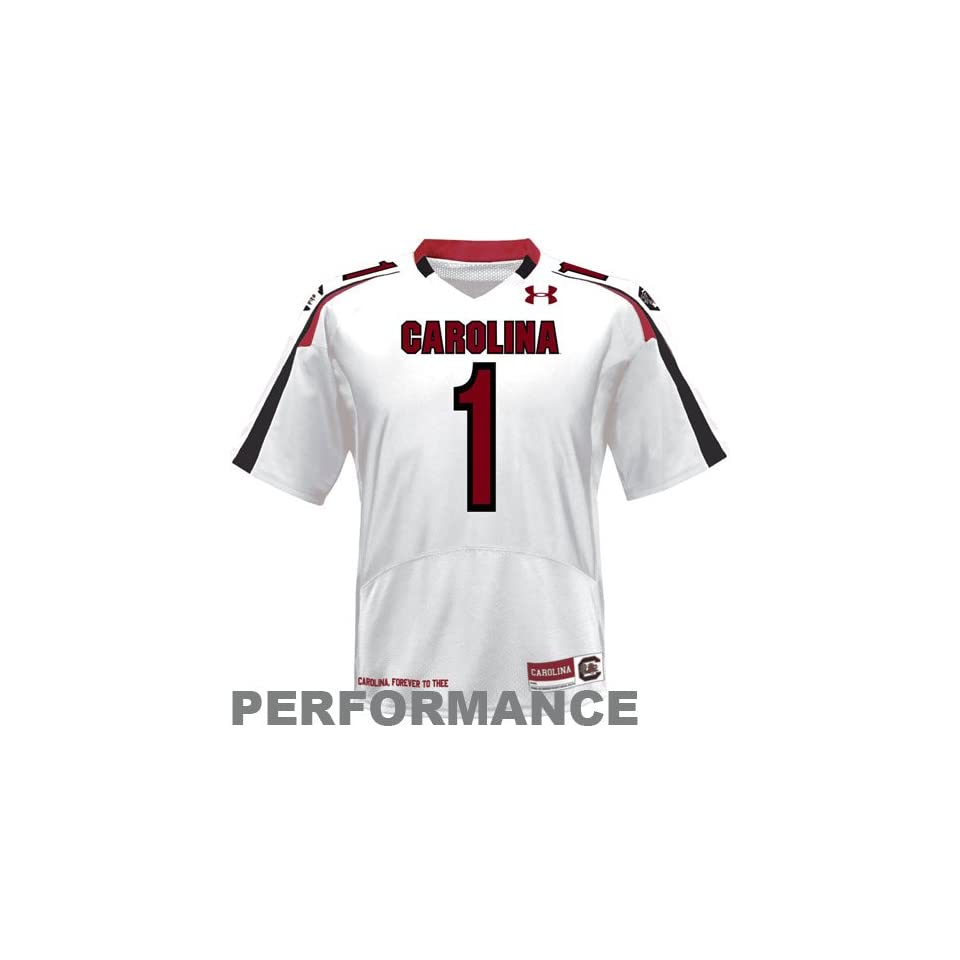 NCAA Under Armour South Carolina Gamecocks #1 Replica Football Jersey   White (Large)